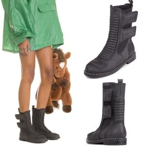 JEFFREY CAMPBELL Police-2 Leather Studded Boot